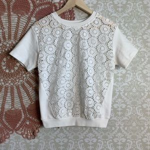 5/$25 Vintage Inspired Lace Front Top